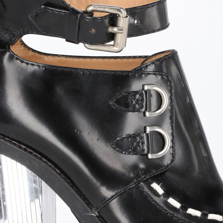 90s Moschino Black Patent Leather Creepers Heels Shoes 2
