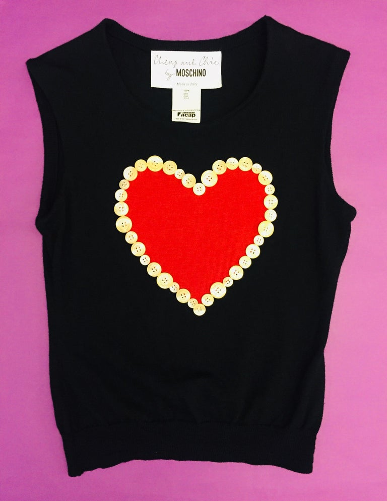 Women's 90s Moschino Cheap and Chic  Black Wool Red Heart Tank Top  For Sale