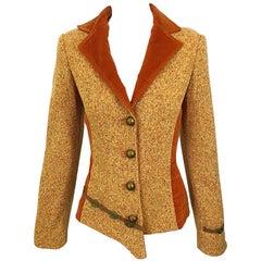 90s OHOD Italian Made Asymmetrical Avant Garde Sz 4 Burnt Orange Vintage Blazer