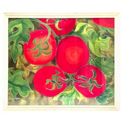 "1990s Original Mixed-Media Painting ""Tomatoes"" by, Elizabeth E. Mitchell-Signed"