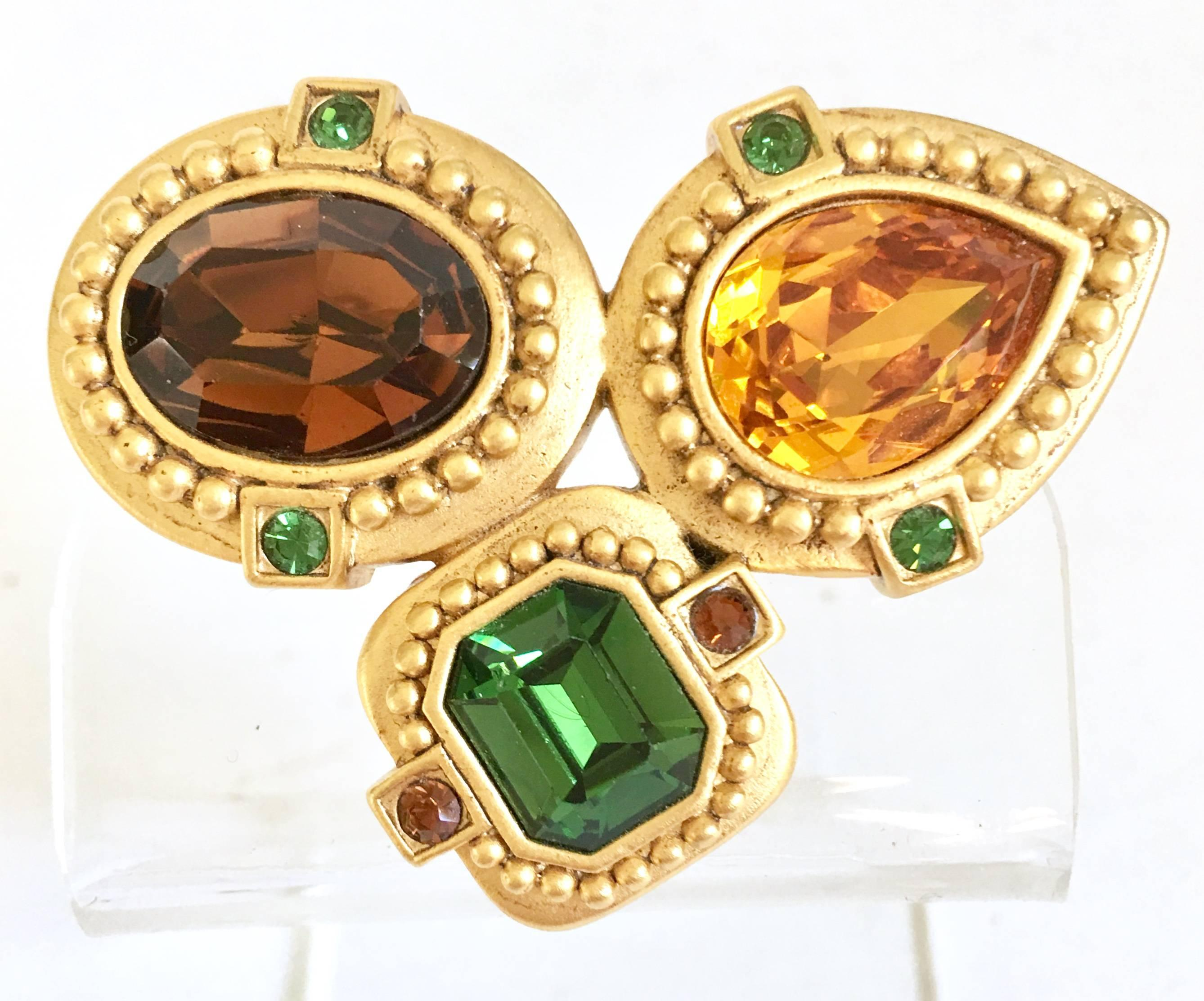 laurent v round clip for yves id gold earrings ruby on ysl jewelry red vintage full saint at gripoix master sale