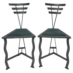 90s Postmodern Contemporary Welded Steel Studio Side Chairs, a Pair