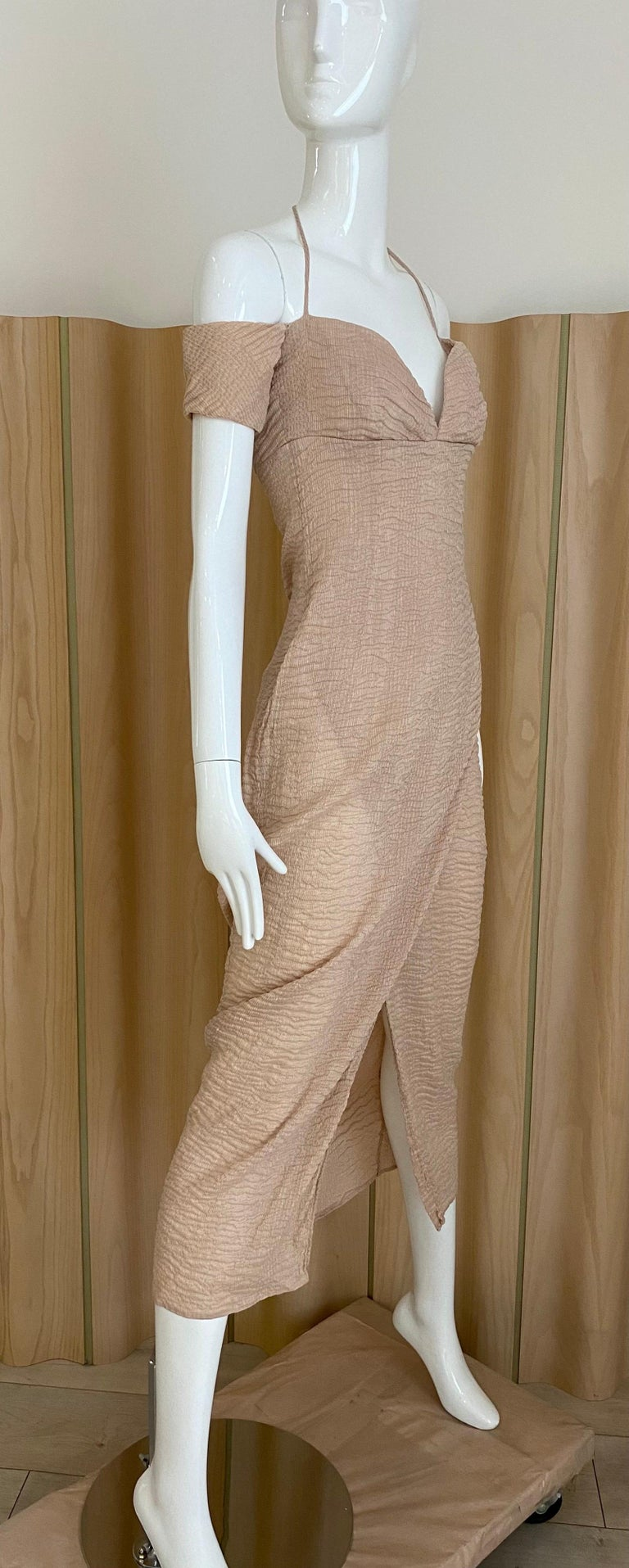 """90s Romeo Gigli off shoulder light mocha or very light pale pink with thin strap.  Size : 6 Bust :36"""" / ribcage :28""""/ Waist:30""""/ Hip: 38"""" Armhole :  5"""" / Dress length : 46"""""""