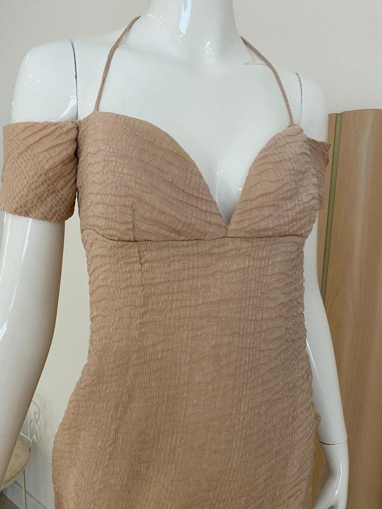 Women's 90s Romeo Gigli  Off shoulder Crinkle Crepe Dress