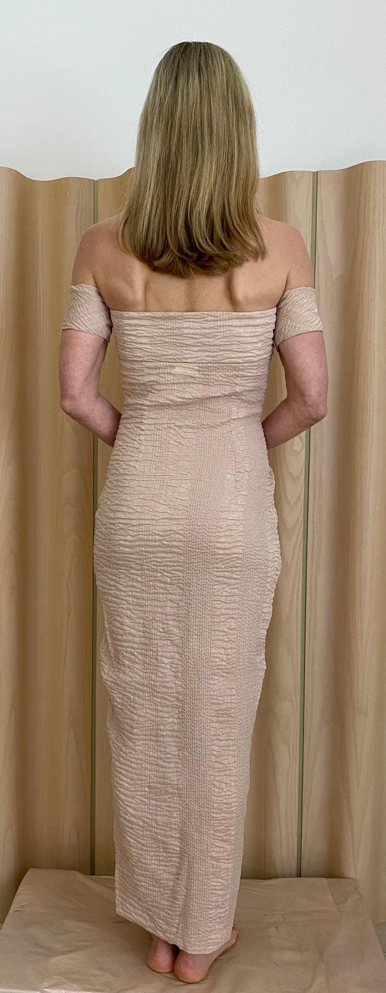 90s Romeo Gigli  Off shoulder Crinkle Crepe Dress 1