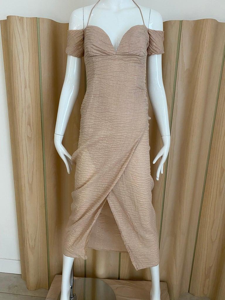90s Romeo Gigli  Off shoulder Crinkle Crepe Dress 4