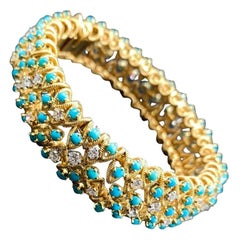 90's Turquoise and Diamond Bracelet, with Round Diamond and Turquoise, 18K Gold