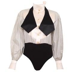 90s Vintage Escada Black and Cream Tuxedo Body Suit size Small
