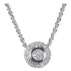 .91 Carat Diamond White Gold Pendant Necklace