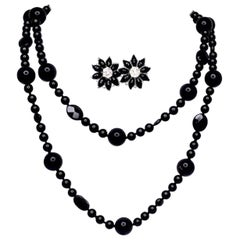 .91 ct. t.w. Diamond and Onyx 18k White Gold Flower Earrings and Necklace Suite