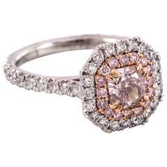 .91 Karat Phantasie bräunlich rosa Radiant geschnitten Diamant-Ring Diamant Eiche