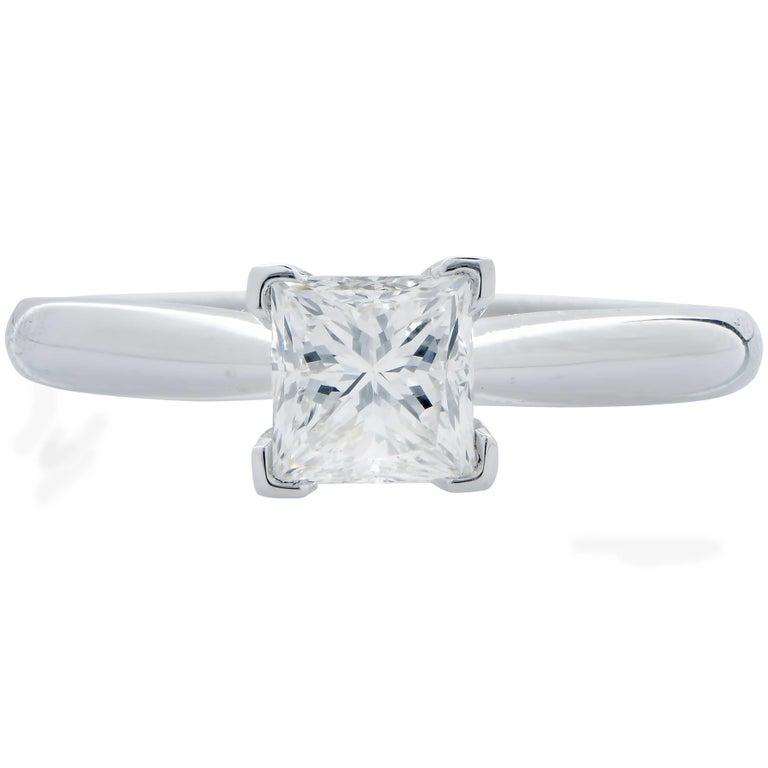 .91 Carat GIA Graded H / VS1 Princess Cut Diamond Engagement Ring set in 14 Karat White Gold. Ring Size: 6.5 Metal Weight: 2.1 Grams
