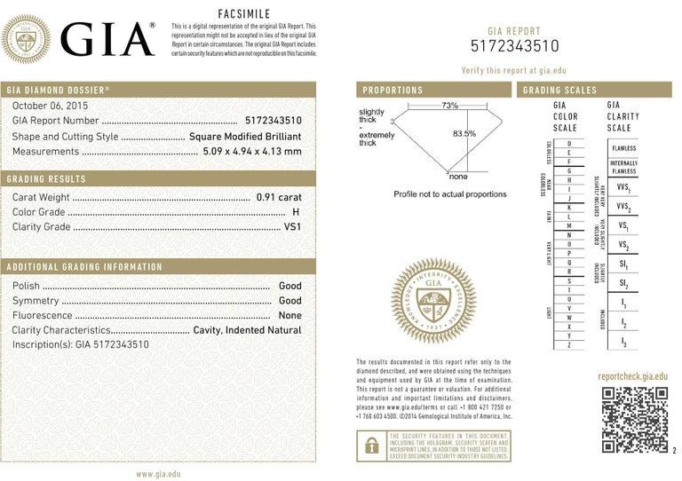 .91 Carat GIA Graded H / VS1 Princess Cut Diamond Engagement Ring 1