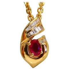.91 Carat Natural Oval Ruby and Diamonds Necklace 14 Karat