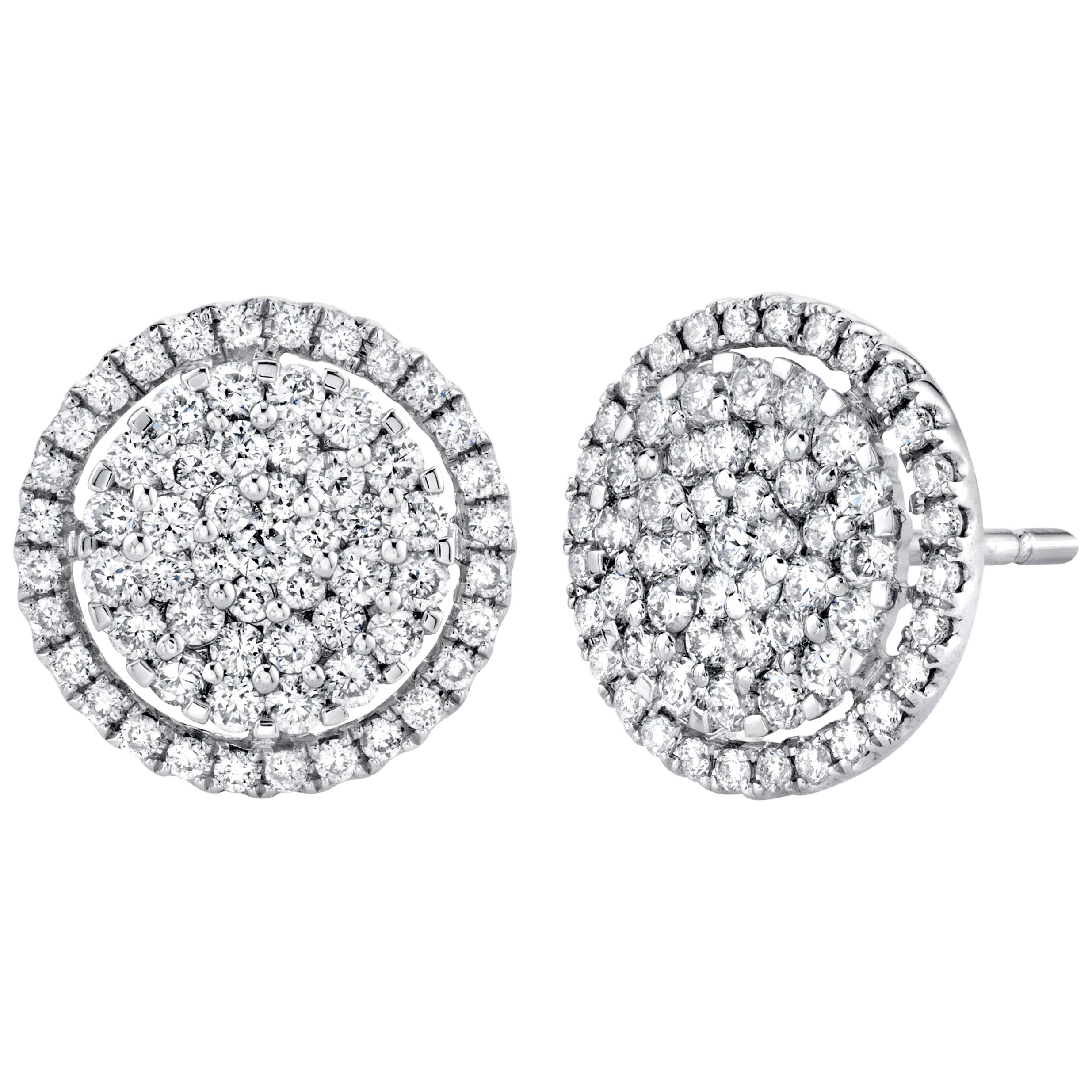 .91 ct. t.w. Diamond Pave and 18k White Gold Circle Eternity Halo Stud Earrings