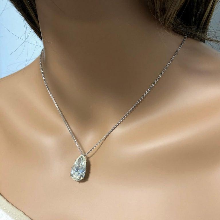 Modern 9.10 Carat  Antique Pear Shape Diamond Solitaire Pendant Necklace For Sale