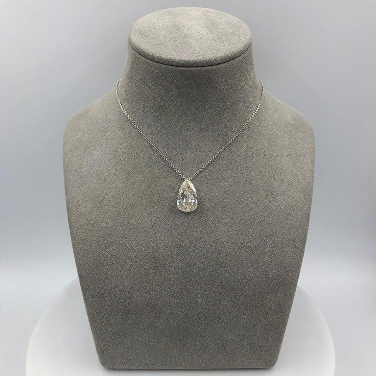 Pear Cut 9.10 Carat  Antique Pear Shape Diamond Solitaire Pendant Necklace For Sale