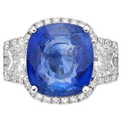 9.10 Carat Royal Blue Sapphire GRS Certified Non Heated Diamond Ring Cushion Cut