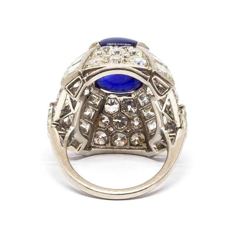 Retro 9.10 Carat Sapphire Diamond Gold Bombé Ring For Sale