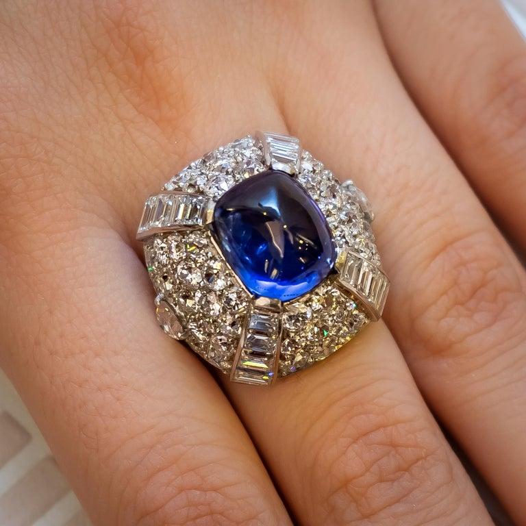 Women's 9.10 Carat Sapphire Diamond Gold Bombé Ring For Sale