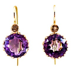 9.10 Carat White Rose Cut Diamond Amethyst Yellow Gold Lever-Back Earrings