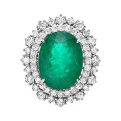 9.10ct Natural Emerald & Diamond 14k Solid White Gold Ring