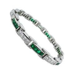9.10 Carat Princess Diamond Green Emerald Tennis Channel Set Bracelet