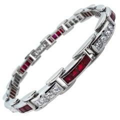 9.10 Carat Princess Diamond Ruby Tennis Channel Set Bracelet Platinum