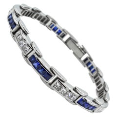 9.10 Carat Princess Diamond Sapphire Tennis Channel Set Bracelet Platinum