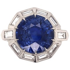 9.11 Carat Blue Sapphire Diamond Platinum Ring Estate Fine Jewelry, circa 1950s