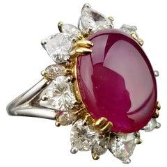 9.13 Carat Burma Ruby and Diamond Cocktail Ring