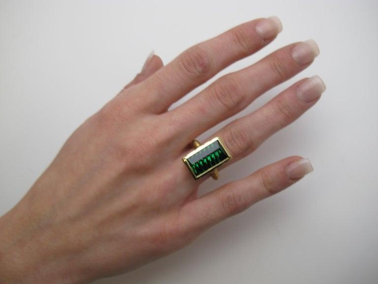 9.13 Carat Fantasy Cut Rectangular Green Tourmaline Diamond Yellow Gold Ring  For Sale 4