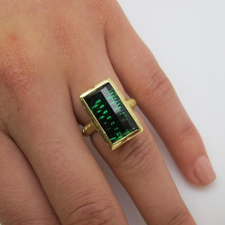 9.13 Carat Fantasy Cut Rectangular Green Tourmaline Diamond Yellow Gold Ring  For Sale 5