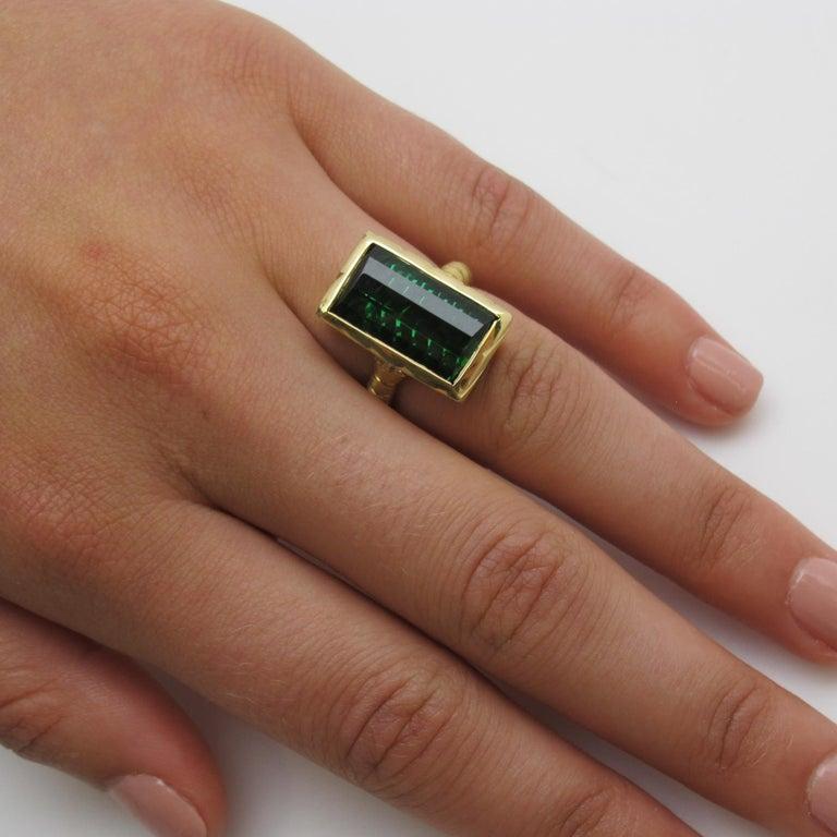 9.13 Carat Fantasy Cut Rectangular Green Tourmaline Diamond Yellow Gold Ring  For Sale 6