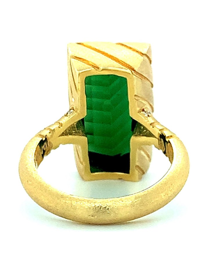 9.13 Carat Fantasy Cut Rectangular Green Tourmaline Diamond Yellow Gold Ring  In New Condition For Sale In Los Angeles, CA