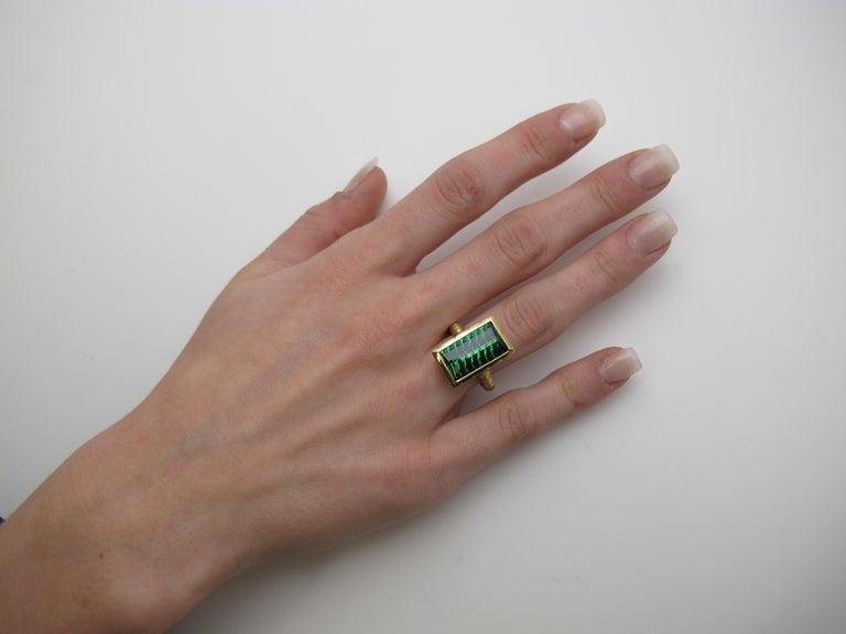 9.13 Carat Fantasy Cut Rectangular Green Tourmaline Diamond Yellow Gold Ring  For Sale 2