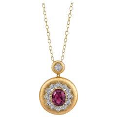 9.14 ct. Rhodolite Garnet Diamond Florentine Style Yellow Gold Pendant Necklace