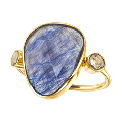 9.15 Carat Blue Sapphire Diamond Rose Cut 18 KT Yellow Gold Artisan Ring