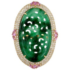 Hand Carved Jade Pink Sapphire 18 Karat Gold Diamond Ring