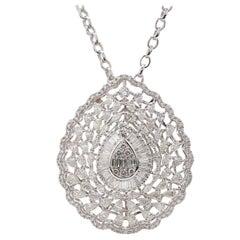 9.15 Carat Diamond 18 Karat White Gold Taj Necklace
