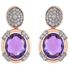 9.15 Carat Oval Briolette Cut Amethyst Diamond 18 Karat Rose Gold Earring