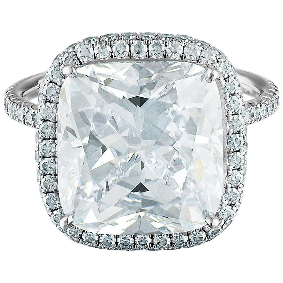 9.15 Carat Platinum Ring, Center, Cushion Cut 8.01 F VS1, GIA Certified Diamond