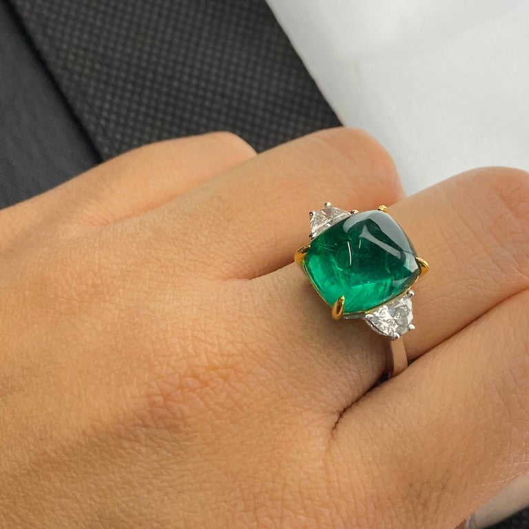 Cushion Cut Certified 9.15 Carat Sugarloaf Emerald and Diamond Three-Stone Engagement Ring For Sale