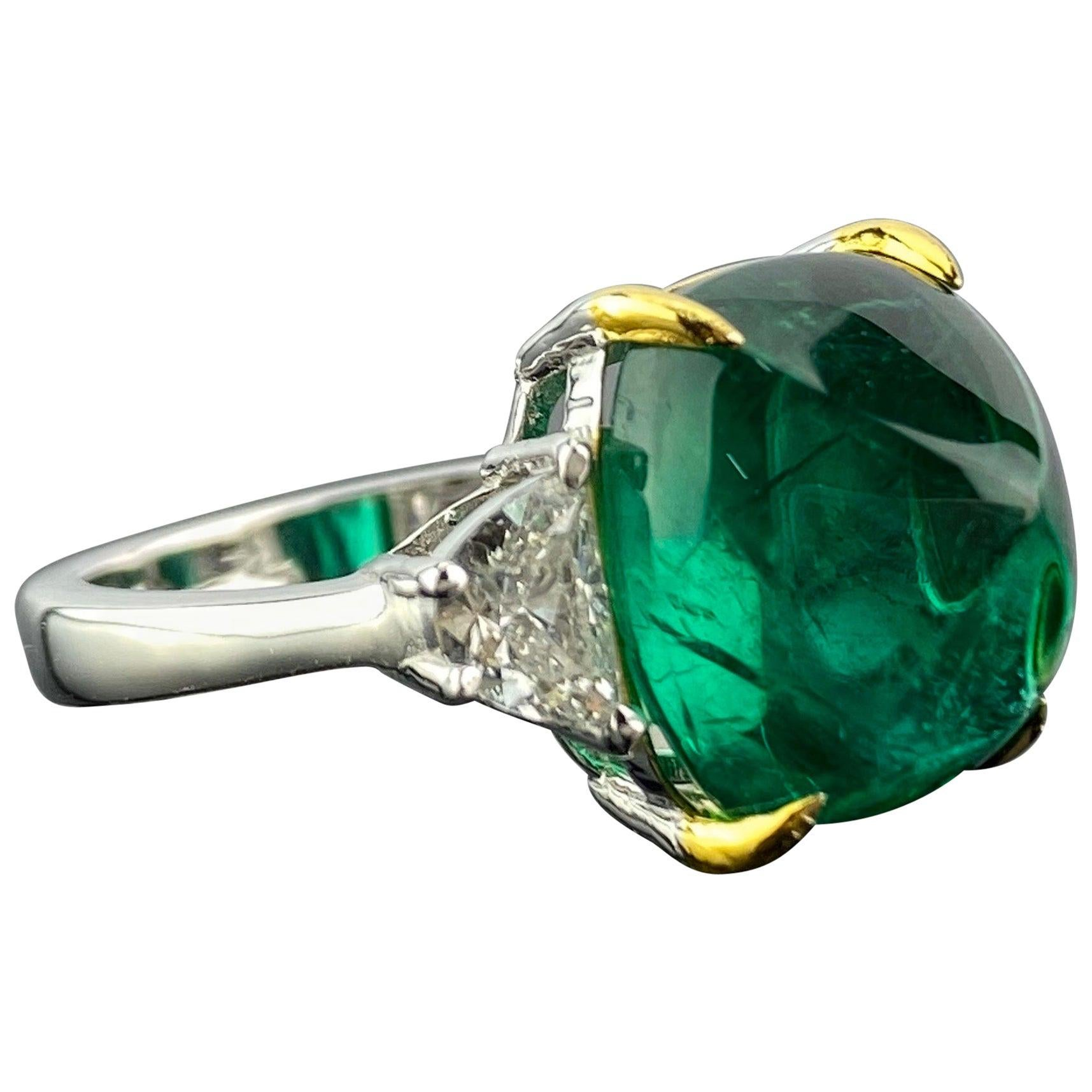 Certified 9.15 Carat Sugarloaf Emerald and Diamond Three-Stone Engagement Ring