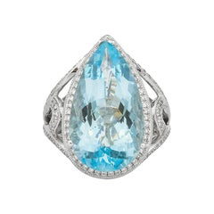 9.16 Carat Aquamarine and Diamond Ring in 18 Karat White Gold