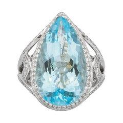 9.16 Carat Aquamarine and Diamond Ring in 18 Karat White Gold