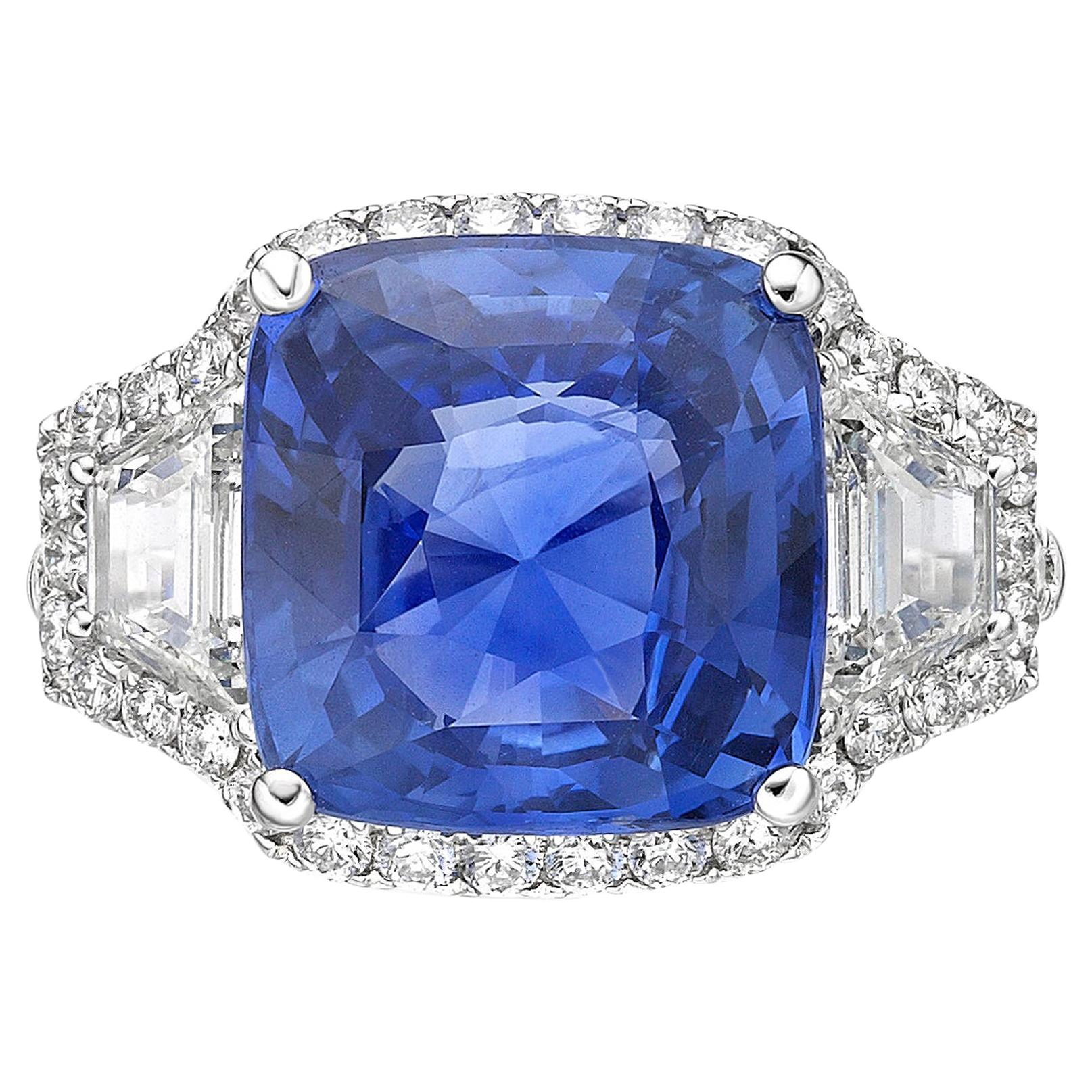 9.16 Carat Sapphire Sri Lanka  GRS Certified Unheated Ceylon Ring Cushion Cut