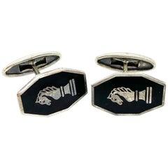 916 Silver Black Enamel Russia CCCP Cufflinks