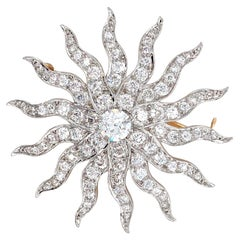 9.18 Carat Antique Diamond Sunburst Brooch/Pendant Platinum/14 Karat