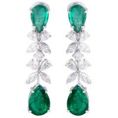 9.18 Carat Emerald Diamond 18 Karat White Gold Earrings